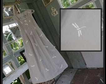 Free shipping in US-XS-XXL-Gray Dragonfly,SleevelessCotton Nightgown,Handmade,Vintage Fabric, PinTucked, Waltz Length