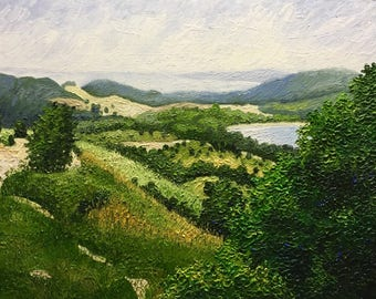 "Original Impressionist Impasto Landscape Oil Painting 18x24 ""Vista, Sleeping Bear"""