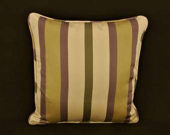 "18"" x 18"" Pillow Cover Purple Olive Green Ivory Welting"