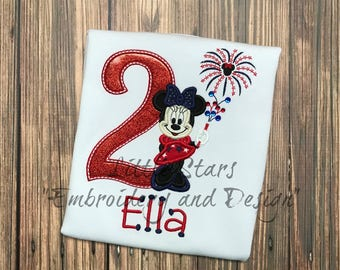 Minnie Mouse 4th of July  Birthday Shirt- Appliqued and Personalized
