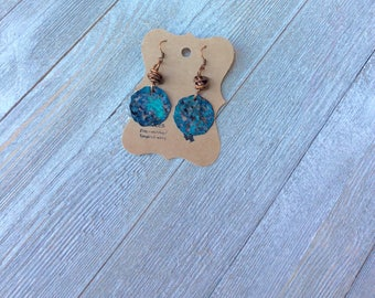 Patina Copper Disc Earrings