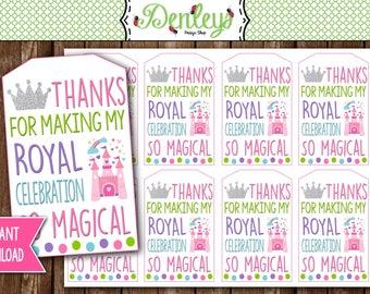 INSTANT DOWNLOAD: Princess Favor Tags, Castle Favor Tags, Princess Gift Tags (FT02)