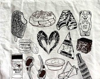 DIY coloring in canvas tote bag - aussie food