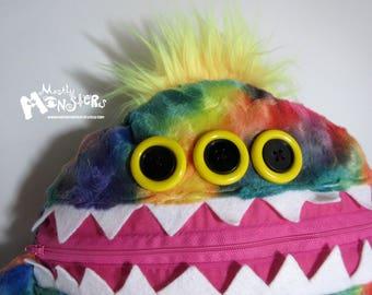 Cuddle Monster Pillow, Rainbow Sunshine monster, Rainbow bedtime buddy, zipper mouth pajama eater, Rainbow Yellow pillow, nightmare eater
