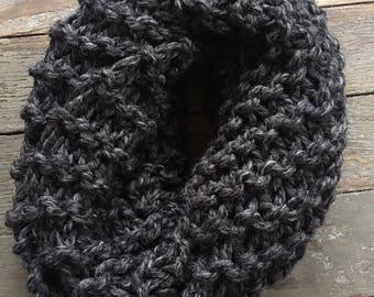 Chunky Knit Scarf, Infinity Scarf / The Gardenia / Charcoal