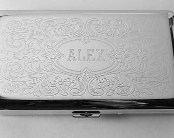 Custom Engraved Personalized 120s Cigarette Case Double Sided with Scroll Design  -Hand Engraved