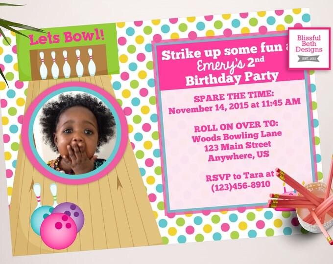 BOWLING BIRTHDAY INVITATION, Bowl Birthday Invitation, Bowling Photo Invitation, Strike Up Some Fun, Bowling Birthday, Girl Bowling Party