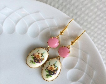 PIA - dangle,earrings,light,pink,flowers,rosé,crème,cameo,cabochon