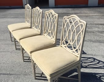 On hold betsy Arranging shipping LOOP DE LOOP / Rare And Fabulous Set Of 4 Faux Bamboo Loop Dining Chairs / Structurally Solid