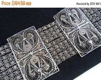 On Sale Vintage 800 Sterling Silver 2 1/2 Inch Wide Bracelet - 1940's Ornate Made In Egypt Signed Jewelry