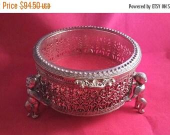 On Sale Vintage Jewelry Box, Ornate Filigree Red Velvet Box, 1960's Vanity Display, 1950's Home Decor Cherub Angel StyleCraft Style Box