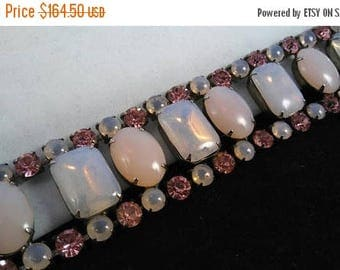 On Sale Pink Rhinestone Bracelet - Vintage Wide Chunky Rare 1950's Collectible Jewelry - Old Hollywood Glamour