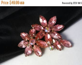 Now On Sale Pink Rhinestone Brooch - Vintage Flower Pin - 1950's 1960's Hard To Find Rare Collectible Jewelry - High End Mid Century