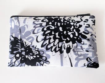 Zippered Coin Purse with Black and White Floral Print and Card Slot