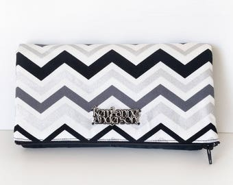Women's Wallet Clutch with Fold Over Flap, Card Slots and Zippered Coin Compartments in Black White Chevron