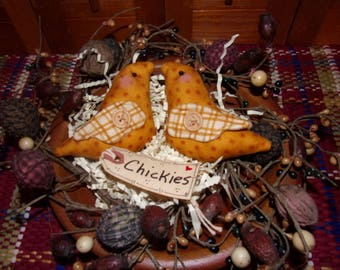 Primitive Whimsical Country Spring Barnyard Golden CHICKS Tucks Bowl Fillers Ornaments Ornies (PYC-001)