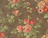 12% off thru July COURTYARD large  pink flowers floral  on stone brown cotton print by the 1/2 yard 3 Sisters Moda fabric 44120 19