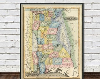 Alabama Map Print Etsy - Map of alabama