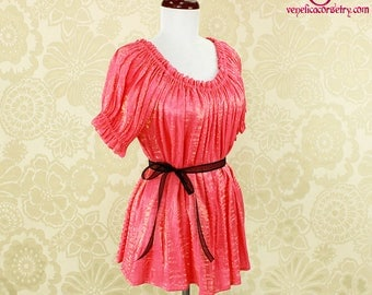 Steampunk Renaissance Cora Chemise in Flamingo Pink w/Gold Crinkled Shimmer Satin -- Custom Made in Your Size