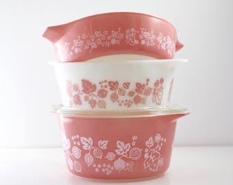 Vintage Pyrex Pink Gooseberry Casserole Dishes