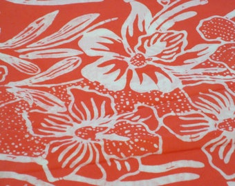 "Vintage Fabric - Hawaiian - Coral & White - 36""W - 1960's - fabric by the yard - material - textile - sewing supply - Retro"