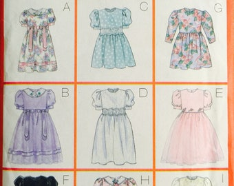 Butterick 5225, Size 2-3-4-5, Children's Dress Pattern, UNCUT, Semi Fitted, Girls, Party Dress, Wedding, Fancy, Holiday, 9 Versions