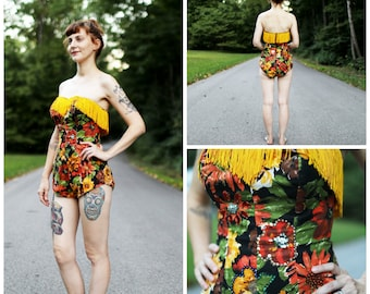 1950s Floral Fringe and Sequin Playsuit