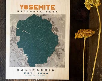 Yosemite National Park Map on WOOD, Real Wood Print, Gallery Wall, Wood Anniversary Gift , National parks of America, Rustic decor