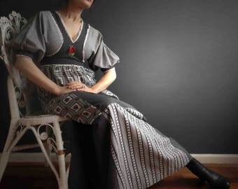 Vintage 70s Gingham Patchwork Prairie Maxi Dress Black White Young Edwardian Small