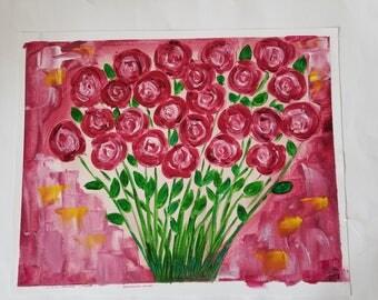 Crimson Roses, Original Oil Painting, 16 x 20