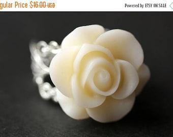 SUMMER SALE White Rose Ring. Eggshell White Flower Ring. Gold Ring. Silver Ring. Bronze Ring. Copper Ring. Adjustable Ring. Handmade Jewelry