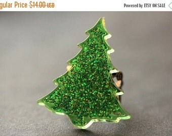 EASTER SALE Christmas Tree Ring. Glitter Ring. Christmas Ring. Holiday Jewelry. Green Tree Ring. Bronze Ring. Adjustable Ring. Christmas Jew
