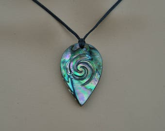 RESERVED for Erica~Moana pendant~  New Zealand Paua shell with Maori spiral engraving