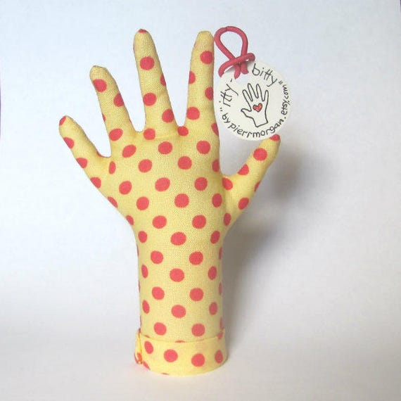 itty bitty Pink Polka Dotty Yellow Fabric HAND-Stand Baby Ring Teething Necklace Display Ready to Ship