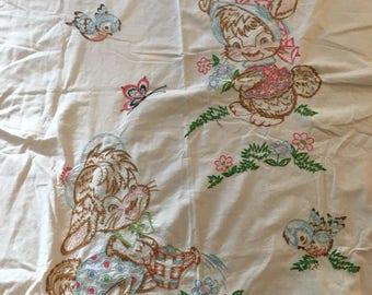 Embroiderd vintage baby sheet pink border bunnies birds
