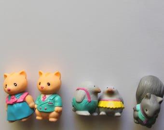 Vintage Lot of Takara Furry Families Animal Toys 1993