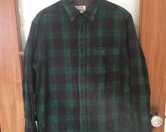 Navy and Green Buffalo plaid work flannel