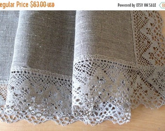 """Linen Tablecloth Burlap Natural Gray Washed Linen Lace 31""""x 71"""""""