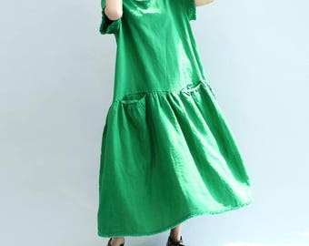loose long  green dress white maxi dress