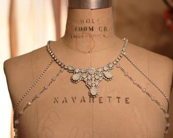 Opal Shoulder necklace, Shoulder Jewelry, Silver Shoulder Necklace, Shoulder Necklace, Opal Necklace, Shoulder Piece, Opal Crystal Bolero