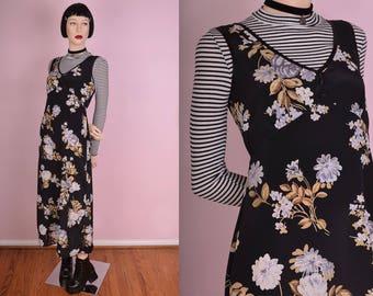 90s Floral Print Dress/ US 7/ 1990s/ Tank/ Sleeveless