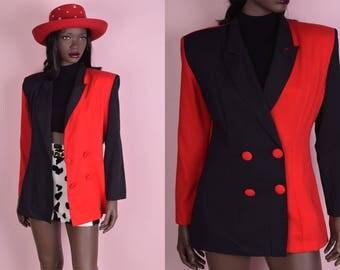 80s Color Block Blazer/ Medium/ 1980s/ Jacket