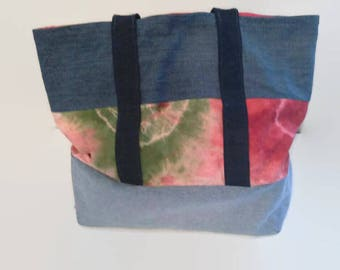 Large Upcycled Denim Beach Bag, Tote Bag, Overnight Bag, Tie Dyed Canvas, Sustainable