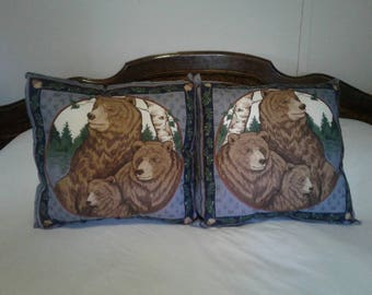 Throw Pillows Girzzly Bear Family Blue Set of TWO 16 X 16 Living Room, Man Cave, Den, Bed Room, Made and Ready to Ship