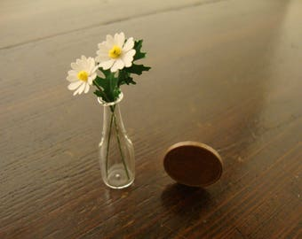 miniature for dollhouse, Bottle with daisies,  1:12 th, scale, flowers for dollhouse,