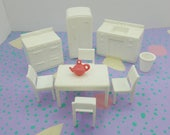 Marx Kitchen  Stove Fridge Sink Table Chairs White Hard Plastic Toy Dollhouse Traditional Style