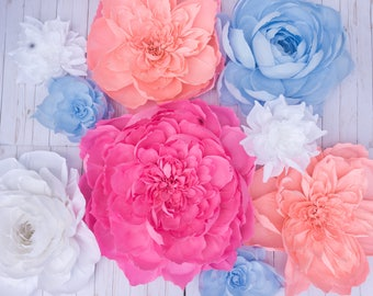 Set of 9 Giant Paper Flowers - Mix