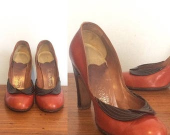 ON SALE Vintage 40s Rust Brown Leather Pumps / Cognac Round Toe High Heels / Pin up Rockabilly Heels / Size 5 1/2
