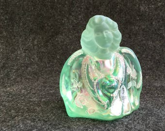 Iridescent FENTON Signed on bottom Kelley? aqua Angel with label Hand-painted Coralene glass bead accents