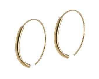 Big Geometric Hoop Earrings - Gold Plated Hoops - Elegant Golden Hoop Earrings - Unique Open Hoops - Classic Golden Hoop Earrings-Gold Hoops
